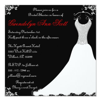 Black and Red Wedding Gown Bridal Shower 5.25x5.25 Square Paper Invitation Card