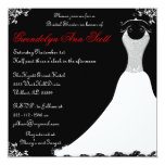 Black and Red Wedding Gown Bridal Shower Invites