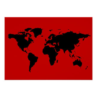 black and red world map poster