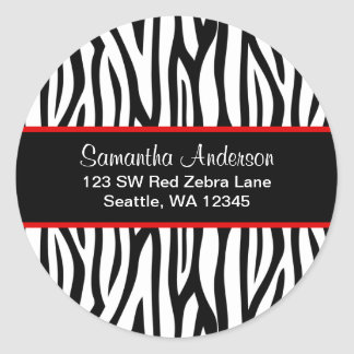 Black and Red Zebra Custom Address Label