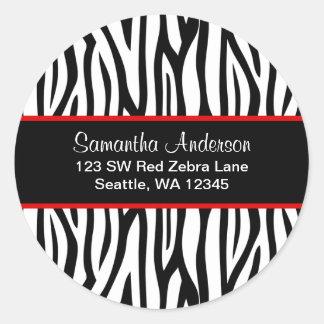 Black and Red Zebra Custom Address Label Classic Round Sticker