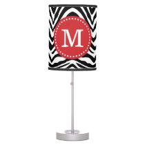 Black and Red Zebra Print Custom Monogram Desk Lamp