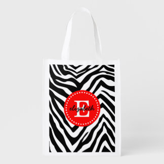 Black and Red Zebra Print Custom Monogram Grocery Bag