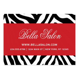 Black and Red Zebra Stripes Animal Print Large Business Card