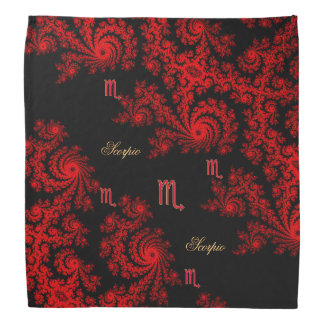 Black and Red Zodiac Sign Scorpio Fractal Bandana