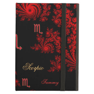 Black and Red Zodiac Sign Scorpio Fractal iPad Air Cover