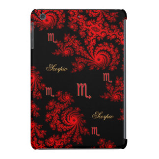 Black and Red Zodiac Sign Scorpio Fractal iPad Mini Cases