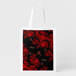 Black and Red Zodiac Sign Scorpio Fractal Reusable Grocery Bags