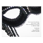 Black and Rhinestone-look Mask Halloween Party Invitations