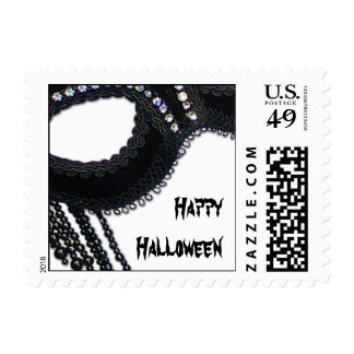 Black and Rhinestone Mask Halloween Postage
