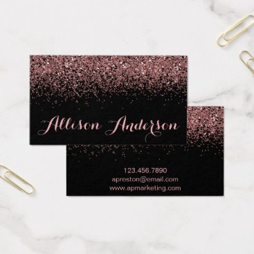 Professional Business Black and Rose Gold Glitter Business Cards