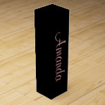 """Black and Rose Gold personalized Wine Box<br><div class=""""desc"""">Simple elegant wine boxes with trending Rose Gold typography customizable with your name.</div>"""