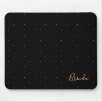 Black and rose-gold small dots pattern mouse pad