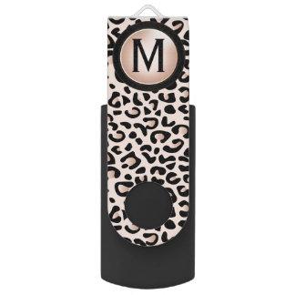 Black and Rose Leopard Animal Print | Monogram Swivel USB 2.0 Flash Drive