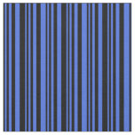 [ Thumbnail: Black and Royal Blue Lined Pattern Fabric ]