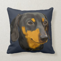 Black and Rust Dachshund Dog Throw Pillow