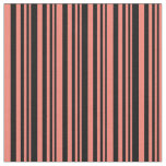 [ Thumbnail: Black and Salmon Colored Pattern of Stripes Fabric ]