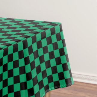 Lovely Black And Shamrock Green Checkered Tablecloth