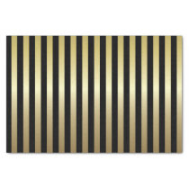 Black and Shimmery Gold Stripes Tissue Paper