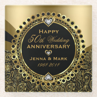 Black And Shiny Gold 50th Wedding Anniversary Glass Coaster
