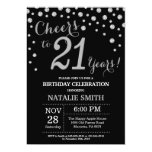 Black and Silver 21st Birthday Diamond Invitation