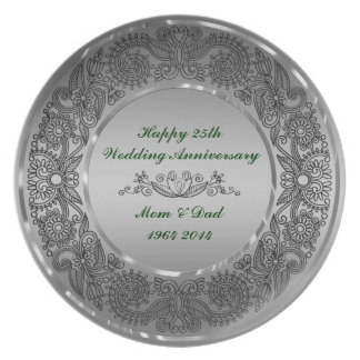 Black And Silver 25th Anniversary Dinner Plate