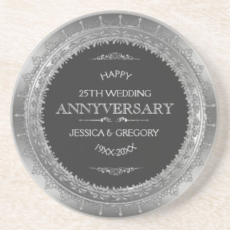 Black And Silver 25th Wedding Anniversary Design Coaster