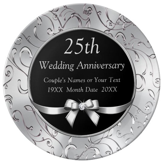 Black And Silver 25th Wedding Anniversary Gifts Dinner Plate