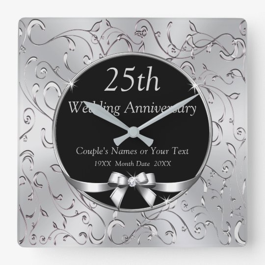 25th Wedding Anniversary Gifts.Black And Silver 25th Wedding Anniversary Gifts Square Wall Clock