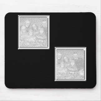 black and silver 2-photo frame mouse mats