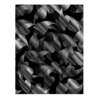 Black and silver abstract background with leaves postcard
