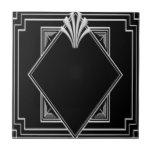 """Black and Silver Art Deco Ceramic Tile. Ceramic Tile<br><div class=""""desc"""">I have created this Black and silver Art Deco Tile. This would make a great look in a bathroom, even just using very few tiles. You could use this as a decorative ornament or as a coaster in your home. For all Art Deco lovers. Choose from 4.25 inches or 6...</div>"""