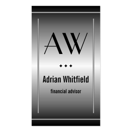 Black and Silver Monogram Metallic Accountant Business Card Template