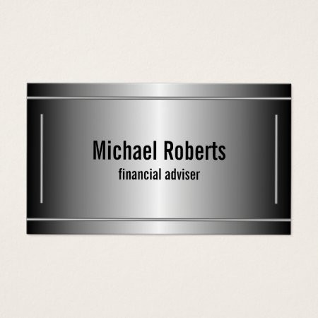 Cool Stylish Black with Silver Bars Metallic Financial Adviser Accountant Business Cards Template