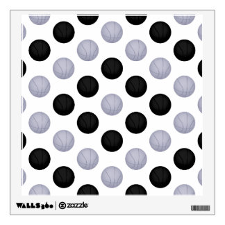 Black and Silver Basketball Pattern Wall Decal