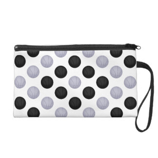 Black and Silver Basketball Pattern Wristlet