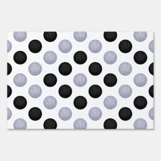 Black and Silver Basketball Pattern Lawn Sign