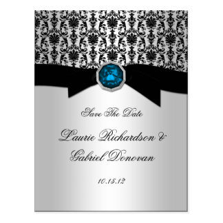 Black and Silver Blue Topaz Jewel Save The Date Postcard
