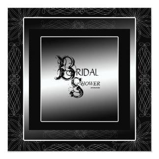 Black and Silver Bridal Shower Invitation