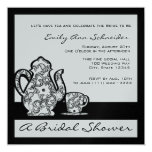 Black and Silver Bridal Tea Shower Card