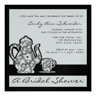 Black and Silver Bridal Tea Shower Card