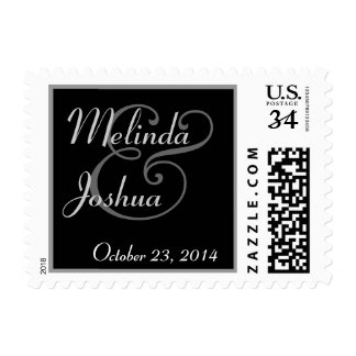 BLACK and SILVER Bride and Groom Wedding Postage