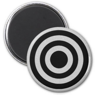 Black and Silver BullsEYE 2 Inch Round Magnet
