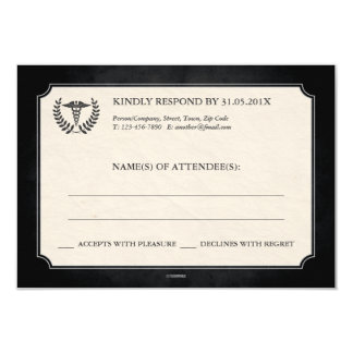 Black and Silver Caduceus Medical Event RSVP 3.5x5 Paper Invitation Card