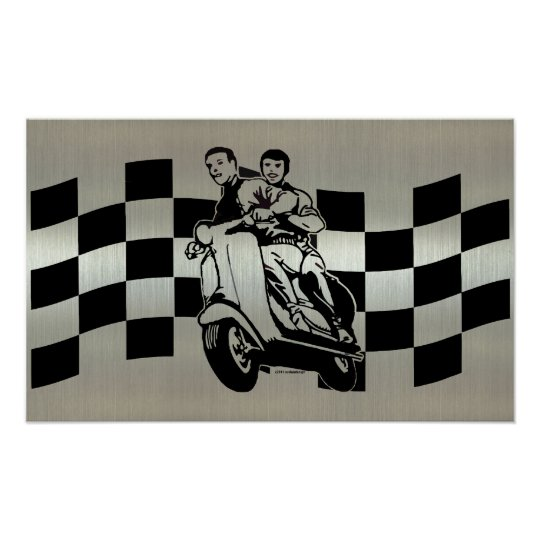 Black and silver check scooter riders posters