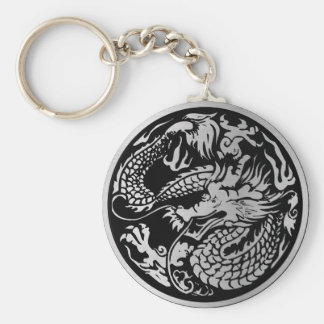Black and Silver Chinese Dragon key-chain Keychain