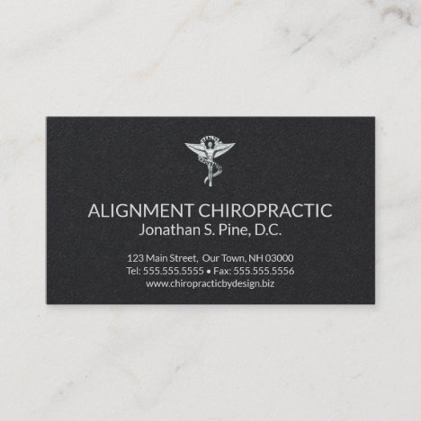 Black and Silver Chiropractic Emblem Chiropractor Business Card