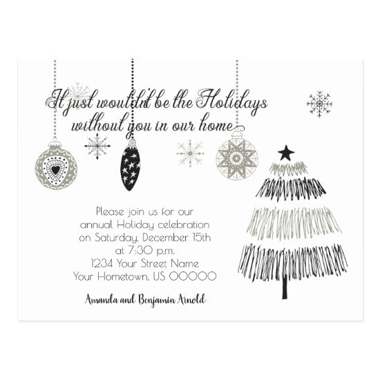 Black and Silver Christmas Holiday Party Invite |