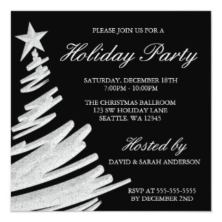Black and Silver Christmas Tree Holiday Party Invitation