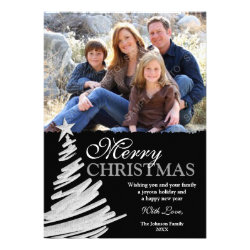 Black and Silver Christmas Tree Holiday Photo Card